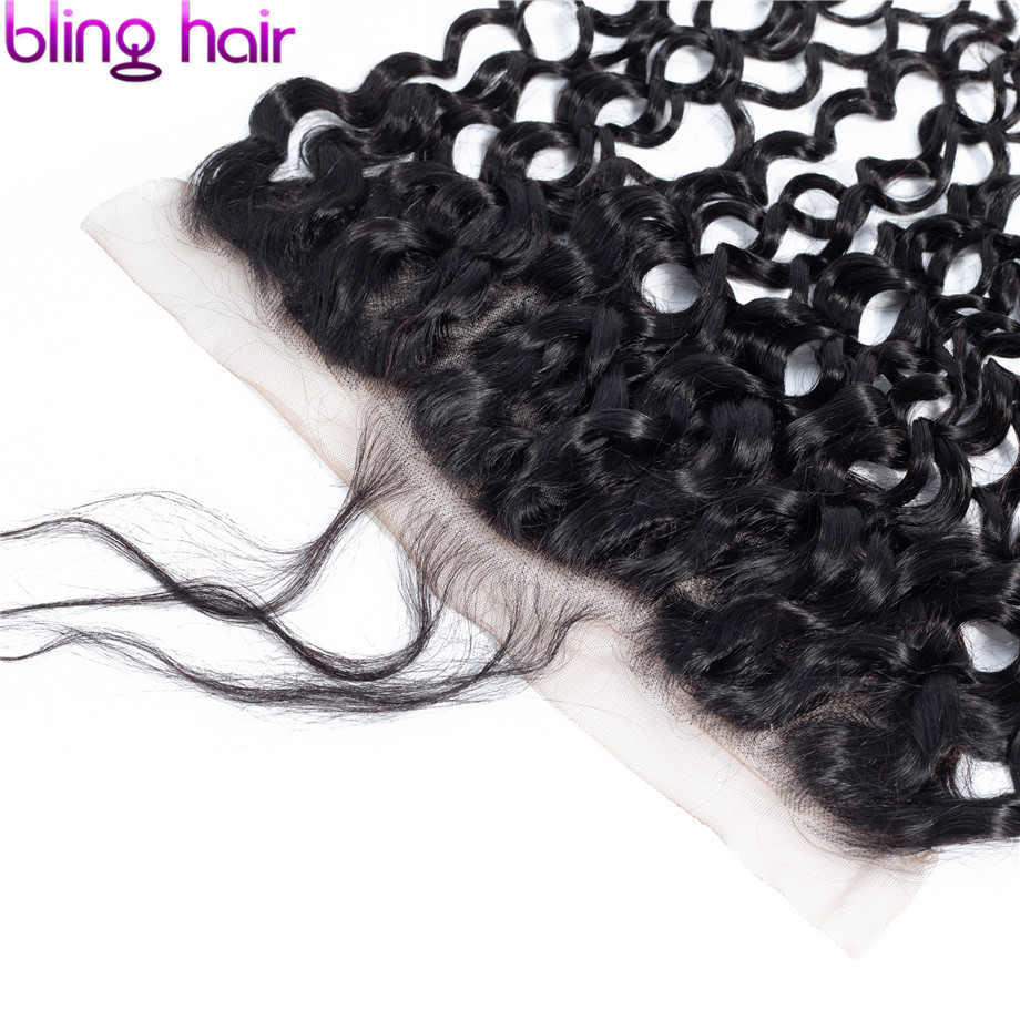 Image 5 - Bling Hair Water Wave 13x6 Lace Frontal Closure Pre plucked Brazilian Remy 100% Human Hair Closure With Baby Hair Natural Color-in Closures from Hair Extensions & Wigs