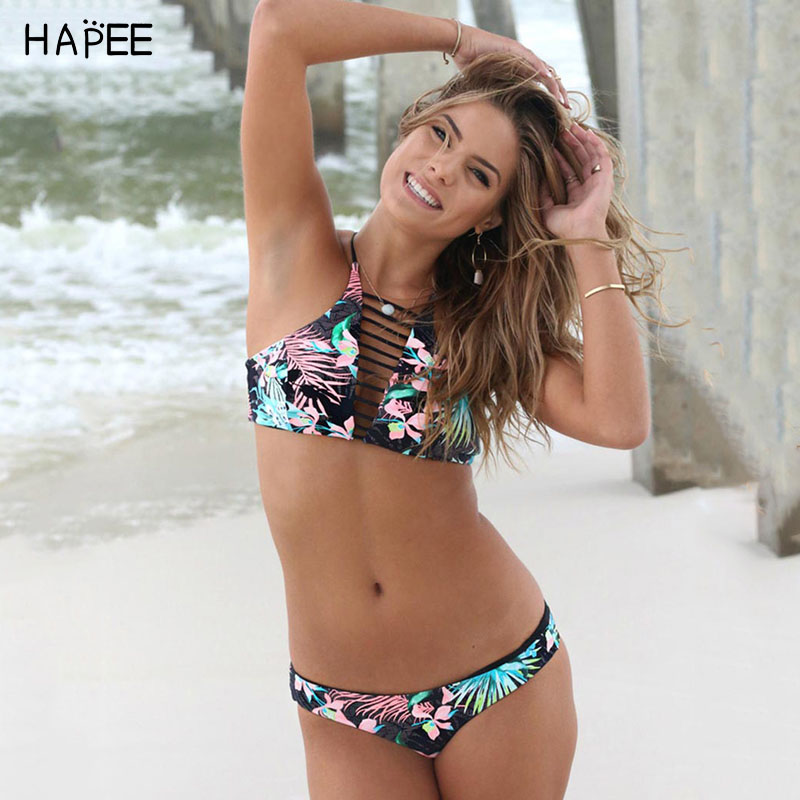 Sweet Escape High Neck Bikini Top Padded Stretchable Halter silhouette swimwear criss cross back tropical print  Floral bikini