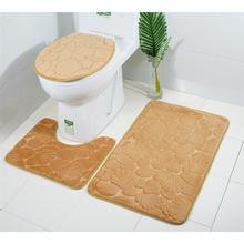 Three Pieces Embossed Bathroom Mat Set Soft Water Absorbent Comfortable  Bathtub Carpets Toilet Seat Lid Cover