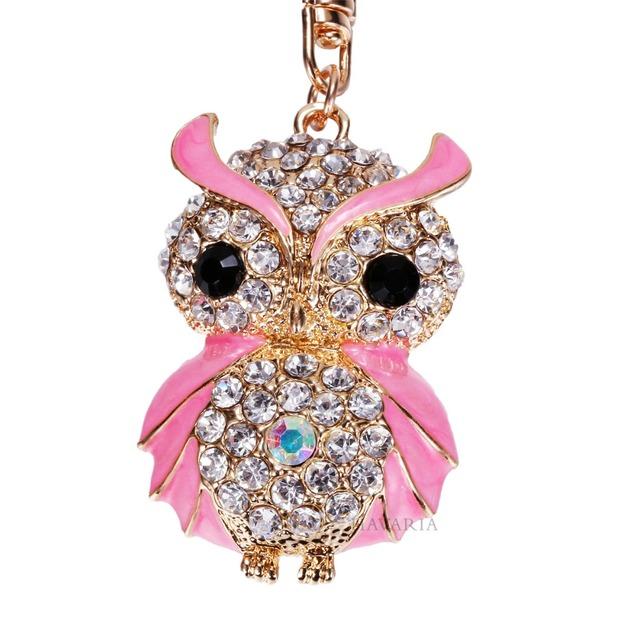 HAVARcd- IA Luxury Rhinestone Owl Key Chain or Handbag Pendant
