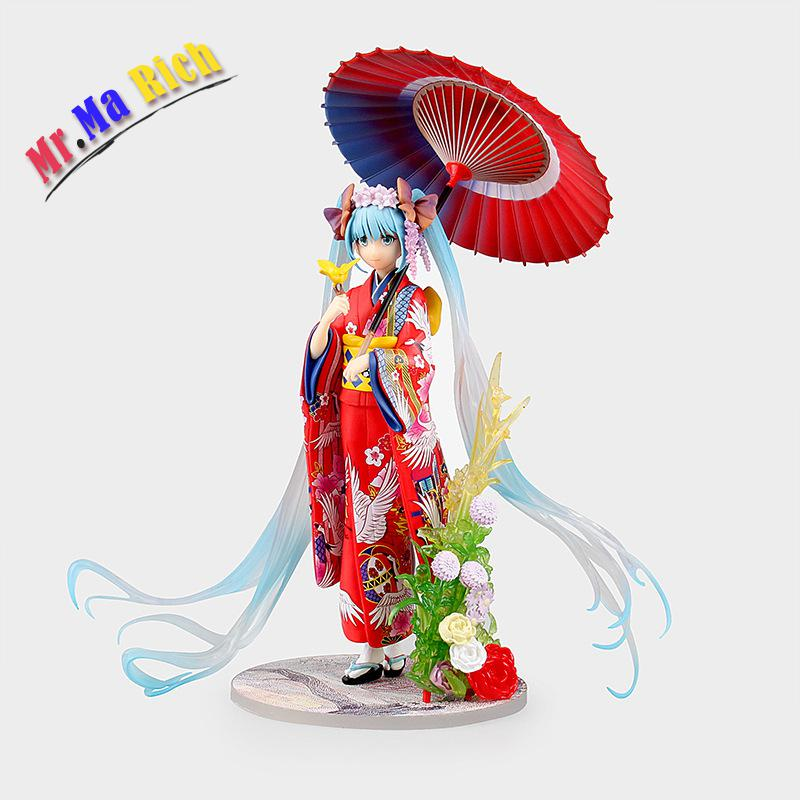 Japan Anime Hatsune Miku Figure Kimono Miku Pvc Action Figure Collectible Kids Toys Model Doll Brinquedos Juguetes 20cm japan game oboro muramasa sexy girl finished goods 1 7 pvc action figure collectible model doll toy 26cm brinquedos