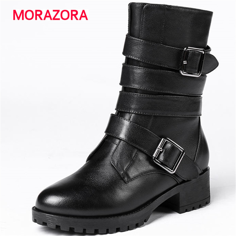 MORAZORA 2018 new round toe med heel genuine leather boots autumn winter square heel short plush boots metal decoration boots riding winter boots feathers 2015 new fashion korean metal decoration genuine leather elevator pull on pure color round toe