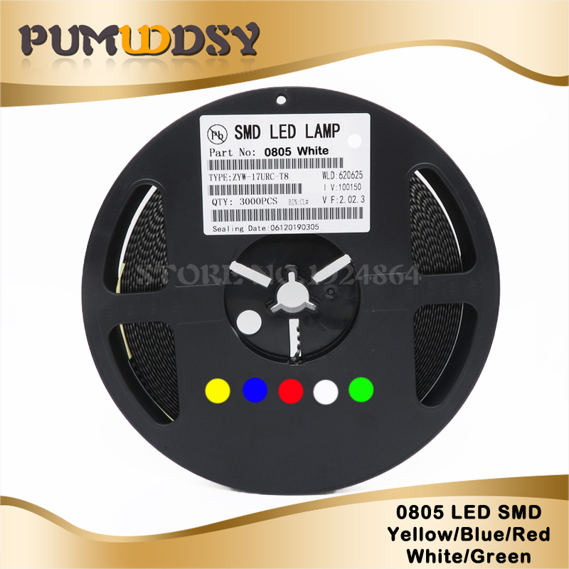 Red Light SMD SMT LED Lamp Diodes Emitting Super Bright New 3000Pcs 1206 3216