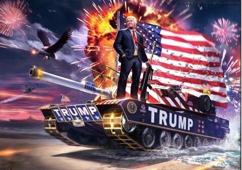 Johnin Hanging 90*150cm Keep America Great First Tank Hero Donald Trump Flag