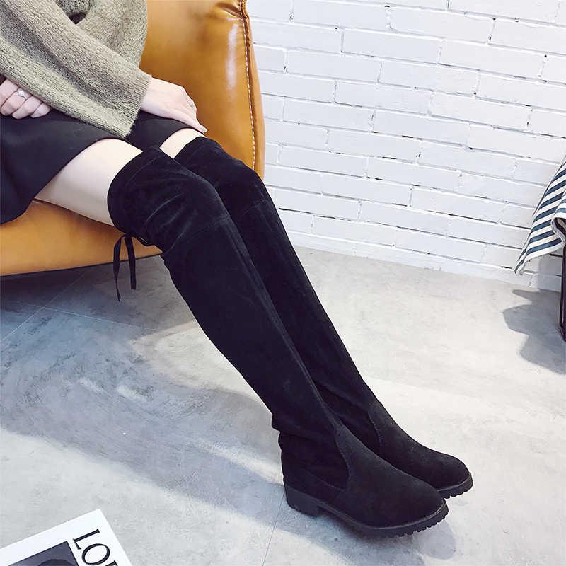 2019 herbst Oberschenkel Hohe Stiefel Plattform Winter Stiefel Frauen Über Das Knie Stiefel Elastische Stoff Wildleder Lange Stiefel Flache Schuhe frau