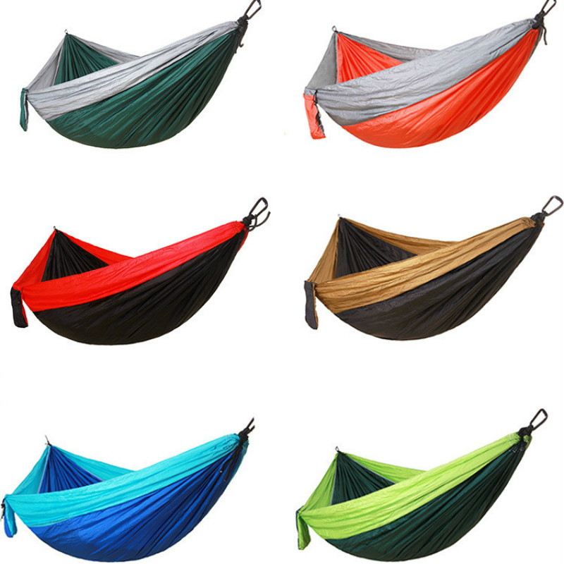 High Quality Parachute Cloth Hammocks Outdoor Camping Swing Double Swing Longer Wider Swing Ultralight Hammock Outdoor Furniture