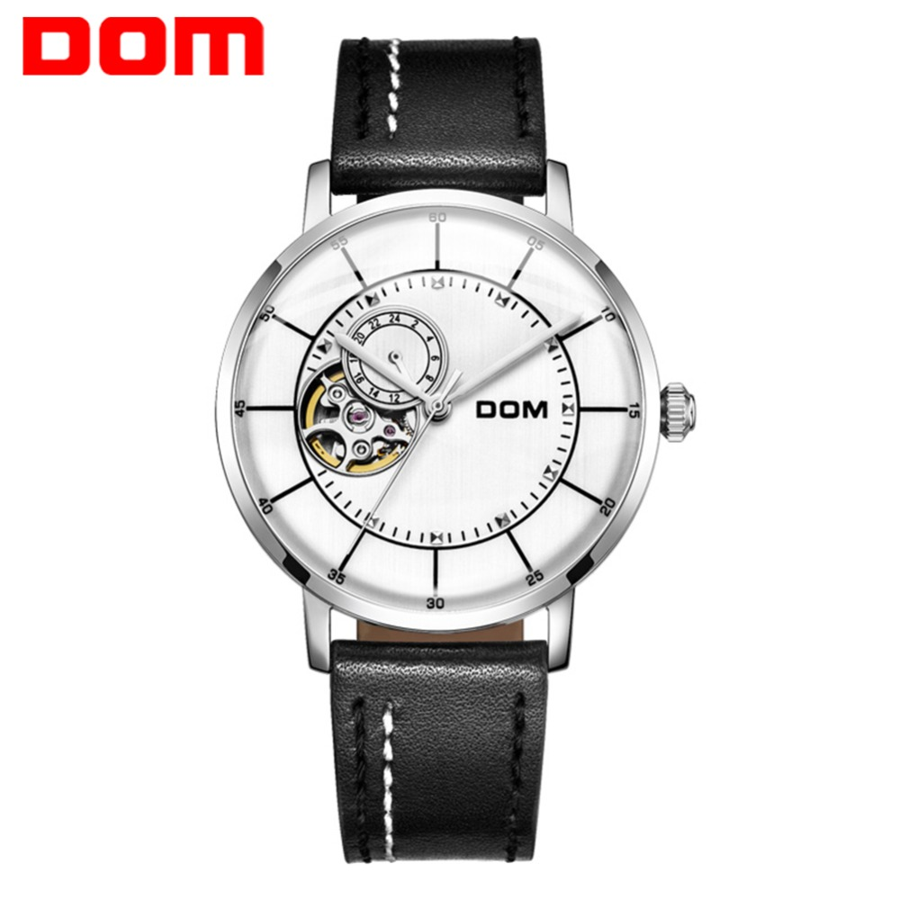 DOM Men Watch Top Luxury Brand Automatic Watch Men Fashion Casual Waterproof Leather Mechanical Watches Relogio Masculino M-8119