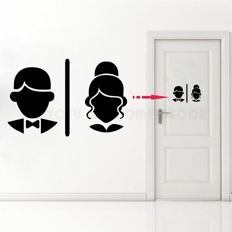 cualquier color. Caballeros /& Damas Baño Inodoro WC Sign Pared Puerta Decal Sticker Arte