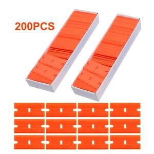 Image 1 - Foshio 200 pcs 더블 에지 면도날 탄소 섬유 스티커 리무버 창 유리 청소 면도기 스크레이퍼 비닐 자동차 랩 스퀴지