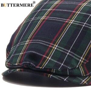 Image 5 - BUTTERMERE נשים משובץ שטוח כובעי זכר מזדמן כותנה בציר כומתות כובעי קיץ אביב קלאסי משובץ אופנתי גטסבי כובע