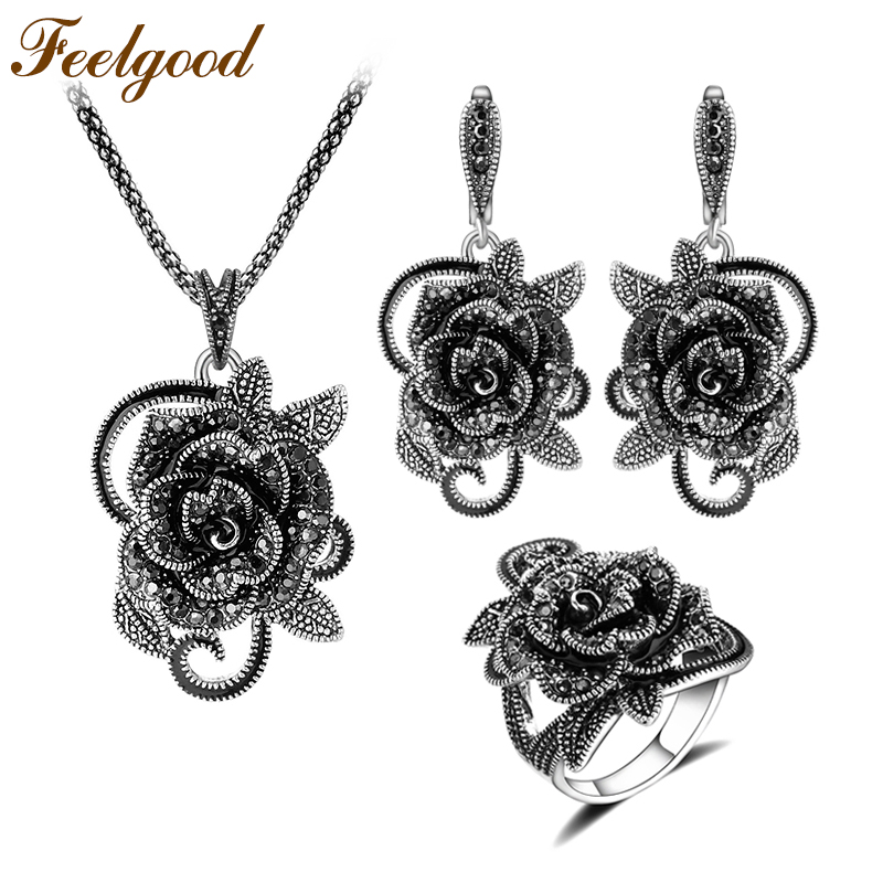 Feelgood Silver Color Vintage Jewellery Set Fesyen Black Crystal Flower Jewelry Set For Women Wedding Party Birthday Gift