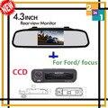 4.3 Auto espelho monitor de assistência de estacionamento com CCD de visão noturna traseira tronco forma câmera traseira para Ford / focus 2 3 Hatchback Sedan