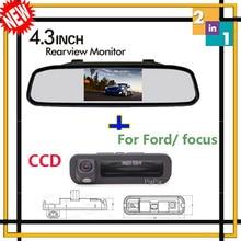 Parking assist 4.3 rétroviseur moniteur avec CCD vue arrière vision nocturne tronc caméra arrière forme pour Ford / focus 2 3 hayon berline