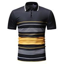 цена Business Leisure POLO Shirt Men's Tops Tees Stripe Men Polo Shirt Lapel collar Mens Clothes Short sleeve Summer Navy Black