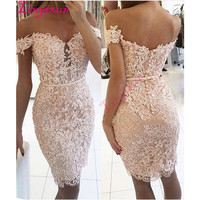 Champagne 2018 Elegant Cocktail Dresses Sheath Off The Shoulder Short Mini Lace Beaded Party Plus Size Homecoming Dresses