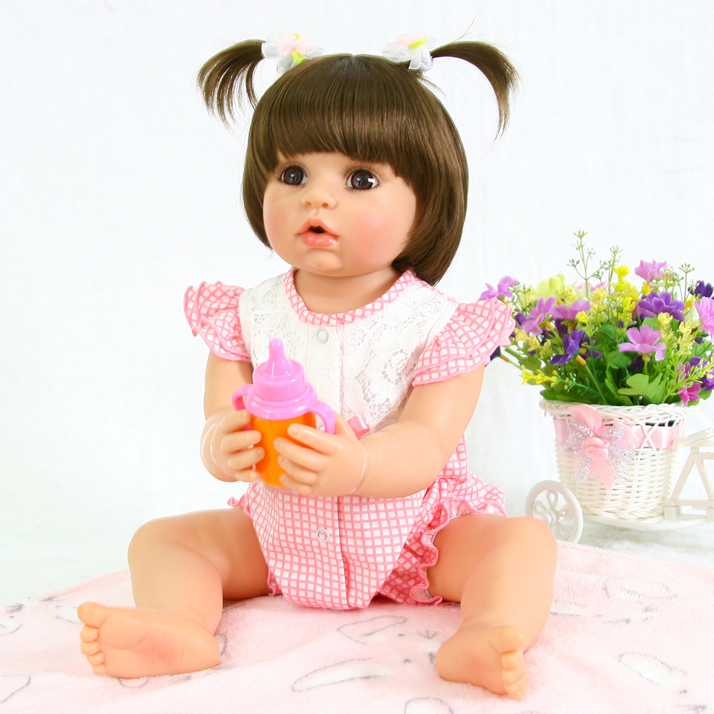 Adorable Reborn Full Body Silicone Baby Dolls 55 cm Reborn Baby Alive Toddler Doll Toys for Children Girls Birthday Gift Dolls adorable soft cloth body silicone reborn toddler princess girl baby alive doll toys with strap denim skirts pink headband dolls