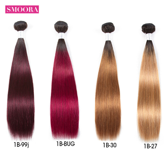 "Brazilian Straight Hair Weave Bundles 10""-26"" Non Remy Human Hair Two Tone Color 1B/#27/#99/Burgundy Smoora Ombre Hair Extension"