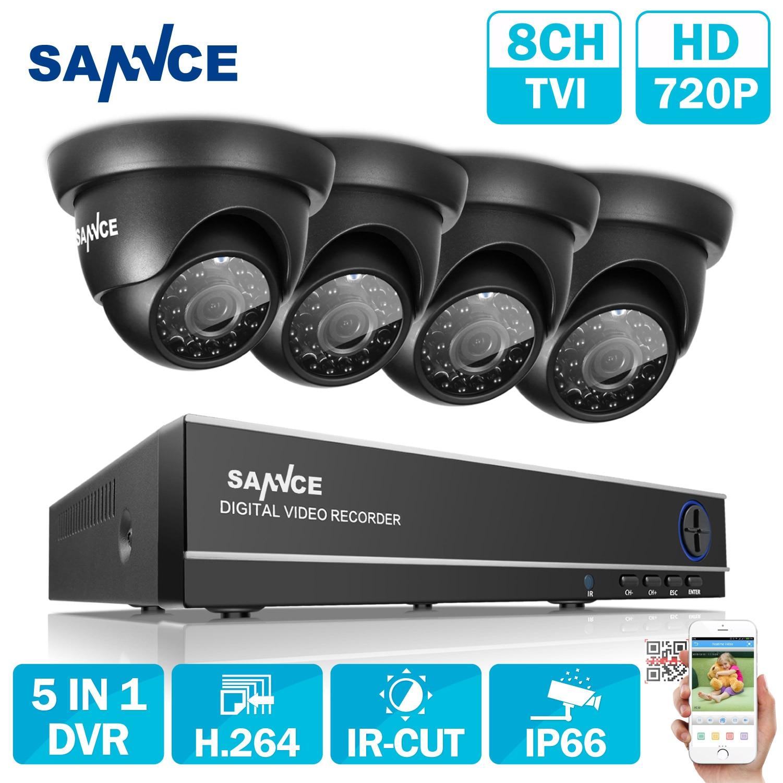 SANNCE 8CH 1080N TVI H.264 + 8CH DVR 720 P Extérieure Dôme CCTV Vidéo Caméra de Sécurité À Domicile Système de Surveillance Kits