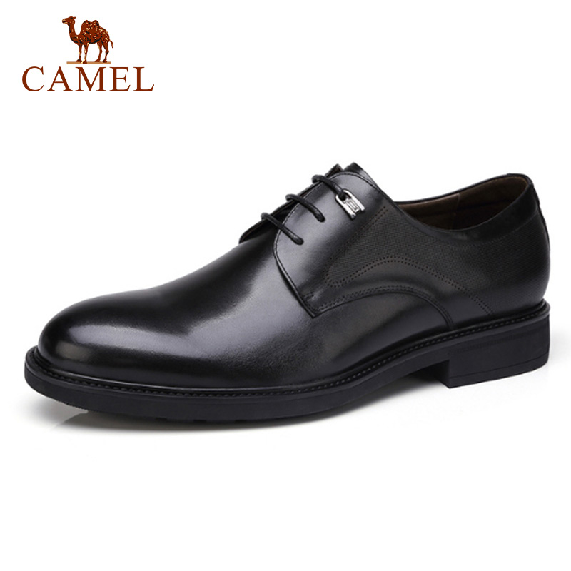 CAMEL Genuine Leather Men s Shoes low top comfortable Lace up Male Formal Patent Shoes for
