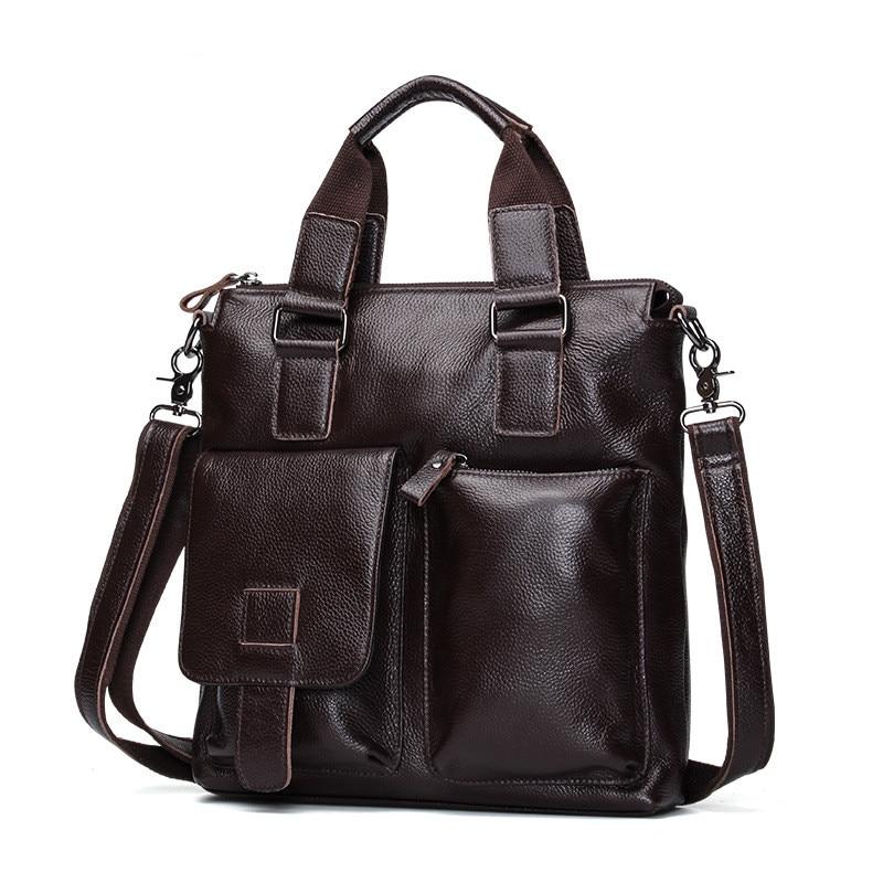VIntage Genuine Leather Men Bag Briefcase Fashion Man Business Handbag Men's Messenger Bags Brand Male Shoulder bag Tote ZH198 цены