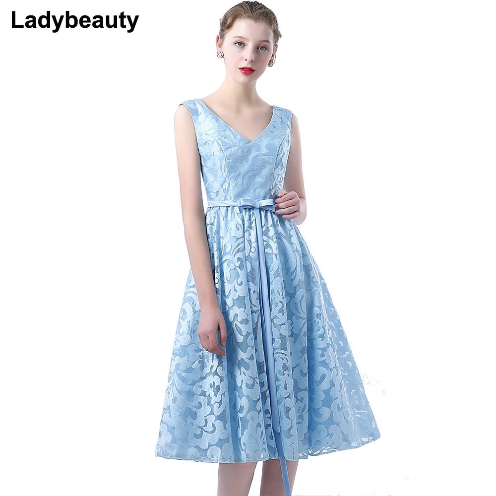 Ladybeauty 2018 New Double Shoulder V neck Simple Solid Lace Tea ...