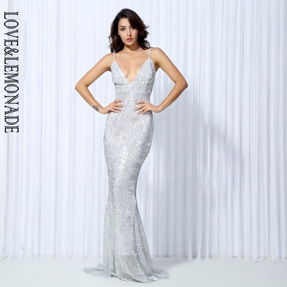 Miłość i lemoniada SilverElastic cekiny odsłonięte plecy długa sukienka LM0043 w Suknie od Odzież damska na  Grupa 1