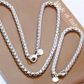 El envío Libre Al Por Mayor de Joyería de Moda Set, Nueva ronda celular 2 Unidades set, 925 plata Esterlina Necklace & Bracelet y pendientes T039