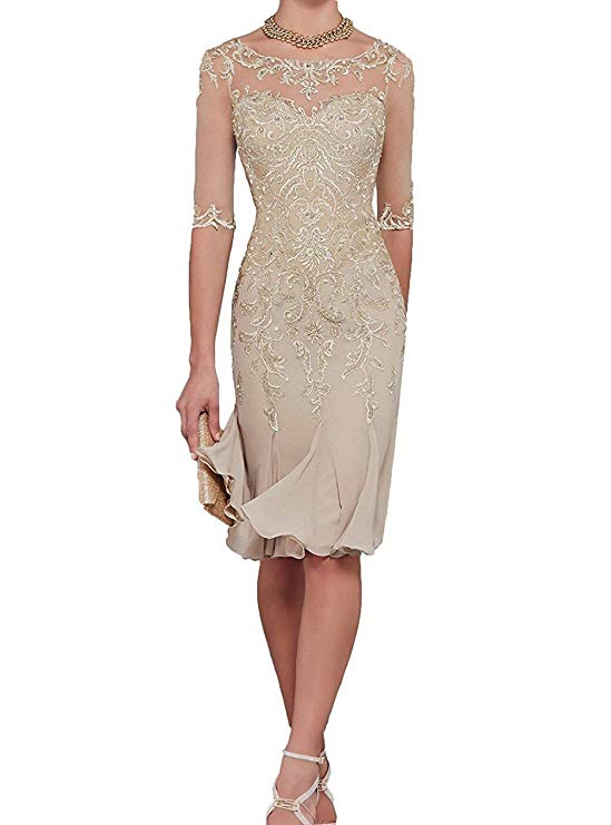 Dresses Bride Party Mother-Of-The-Bride Dinner Chiffon Knee-Length Half