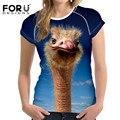 FORUDESIGNS Новая Мода Женщины Футболки Футболка Femme 3D Животных Комфорт Короткими рукавами Женщина Случайные Рубашки Ropa Mujer плюс Размер