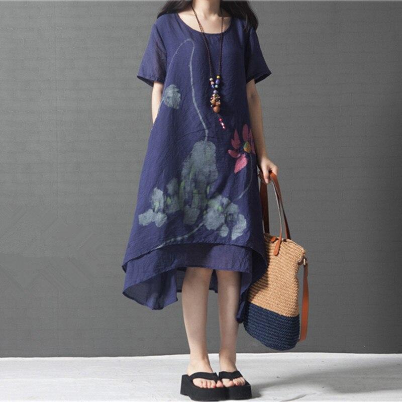 ilstile 2017 Women Short Sleeve Floral Print Cotton Linen Asymmetrical Casual Loose Midi Dress Summer Mori Girls Plus Size Dress