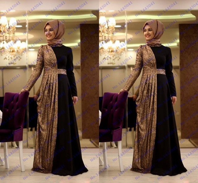 facbef7f3dd4 Fancy dubai kaftan abaya black chiffon gold sequined long fitted high neck  with veils prom party dress evening gown