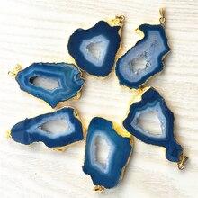 Natuursteen Braziliaanse Gegalvaniseerde Randen Slice Open Blauwe Agaat Geode Drusy Druzys Hangers Voor Ketting sieraden Maken 5 PCS