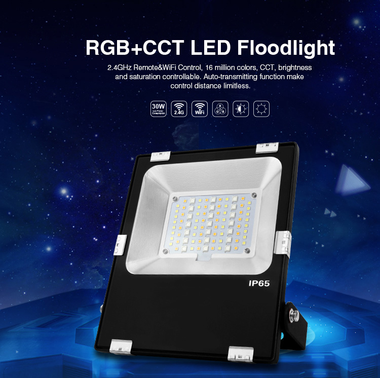 Mi.Light 30W RGB+CCT LED Floodlight FUTT03 AC86-265VSmart IP65 Waterproof Outdoor Lighting 2.4G Wireless Android/iOs WiFi APPMi.Light 30W RGB+CCT LED Floodlight FUTT03 AC86-265VSmart IP65 Waterproof Outdoor Lighting 2.4G Wireless Android/iOs WiFi APP