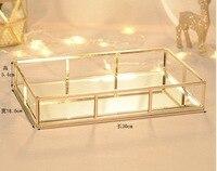 Gold Glass Storage Trays Nordic Bathroom Makeup Sundries Serving Dessert Plate Metal Decorative Tray