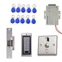 125KHz Waterproof RFID Metal Keypad Access Control System Kit With Strike Lock Remote Control