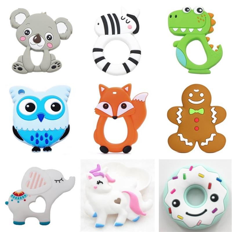 Chenkai 10PCS Silicone Koala Elephant Unicorn Dinosaur Teether DIY Baby Pacifier Dummy Teething Nursing Jewelry Toy Gift