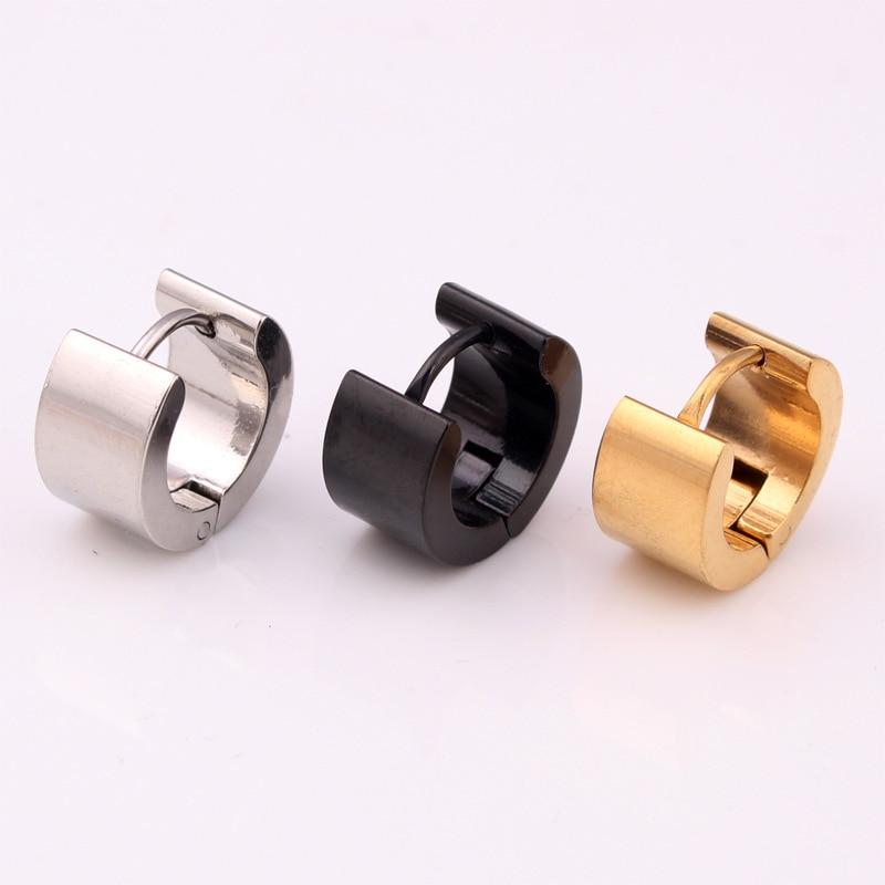 Hot Men Women Small Hoop Earrings Silver Gold Black Stainless Steel Wide 7mm Huggie Jewelry In From Accessories