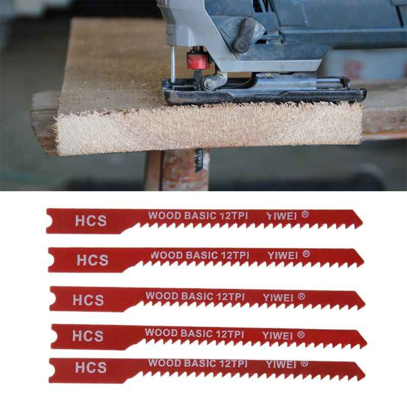 5pcs Durable U-shank High Carbon Steel 12 TPI Reciprocating Saw Blade Cutter For Wood Jig Cutting