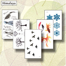 5 Pcs/ Set Temporary Tiny Tattoos, Non-toxic And Waterproof Birds Fish Pisces Snowflake Feather TreeTattoo