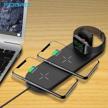 FDGAO 10 W Hızlı Şarj 3 In 1 Qi Kablosuz Şarj Çift Pedi Elma Izle 2 3 iPhone XS max XR X 8 Samsung S9 S8 Hızlı Şarj