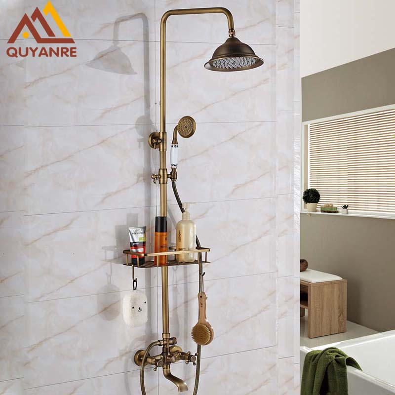 Antique Brass Bathroom Retro Shower Set Faucet with Shelf And Tub Filler Mixer Tap Dual Handles Wall Mounted shower faucet wall mounted antique brass bath tap swivel tub filler ceramic style lift sliding bar with soap dish mixer hj 67040