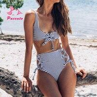 Pacento Bikinis Set Swimwear Women Stripe High Waist Plastic Women S Swimsuits Bikini 2018 Sexy Women