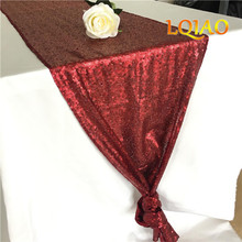 Factory Best 30x180cm Burgundy/Silver/Gold Sequin Table Runner Sparkly  Sequin Fabric Modern Wedding