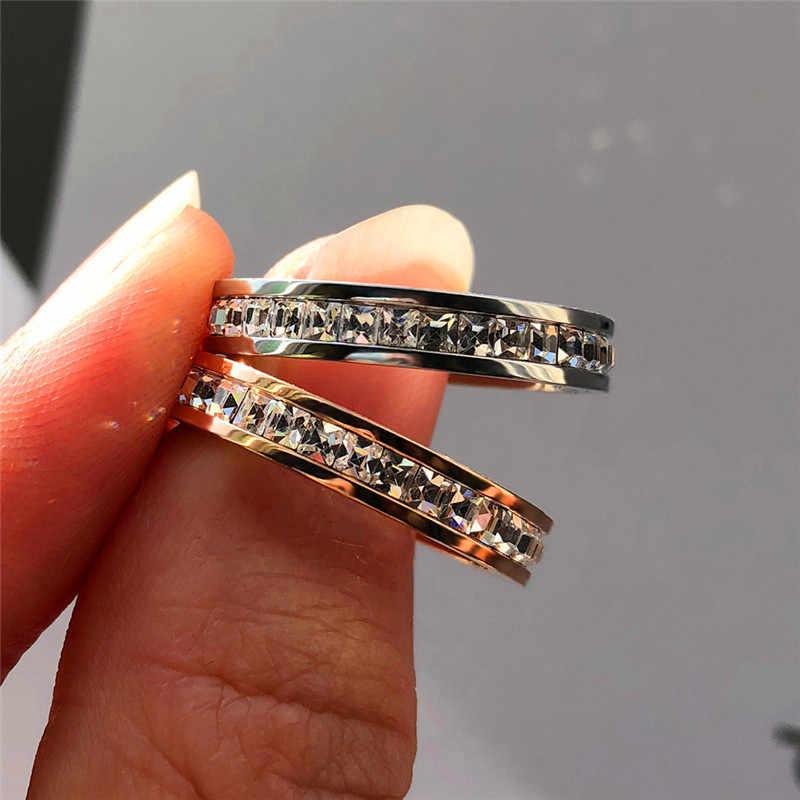 Boho หญิงคริสตัล Cz แหวนสแตนเลสผู้หญิงงานแต่งงานแหวนแฟชั่นสัญญาแหวนหมั้นแหวนทองคำขาว