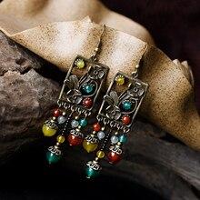 Этнические серьги для женщин, длинные висячие серьги, кольцо с камнями и бусинами, винтажные зеленые серьги с цветами, модные ювелирные изделия brincos