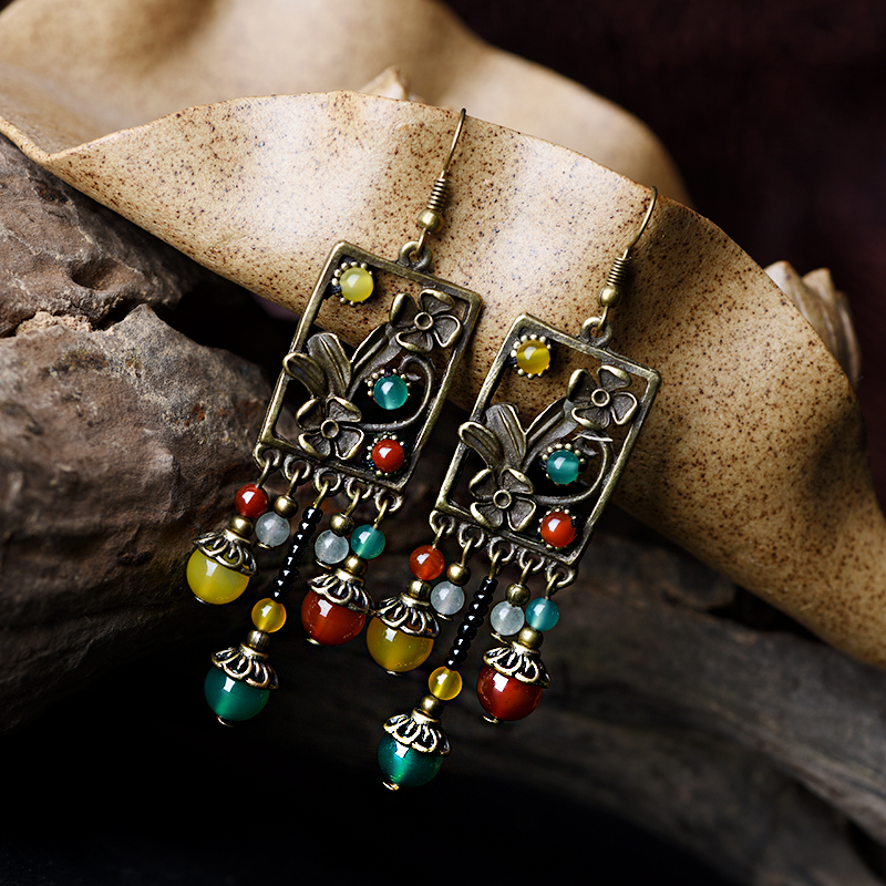 все цены на ethnic drop long dangle earrings for women color stone aventurine copper flower drop green yellow beads hook vintage jewelry