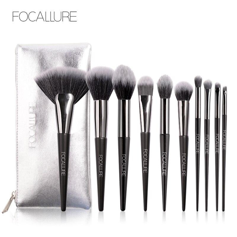 10 pçs pincéis de maquiagem profissional conjunto de ferramentas de pincel kit eye liner sombra natural-sintético escovas de cabelo conjunto ferramentas navio rápido