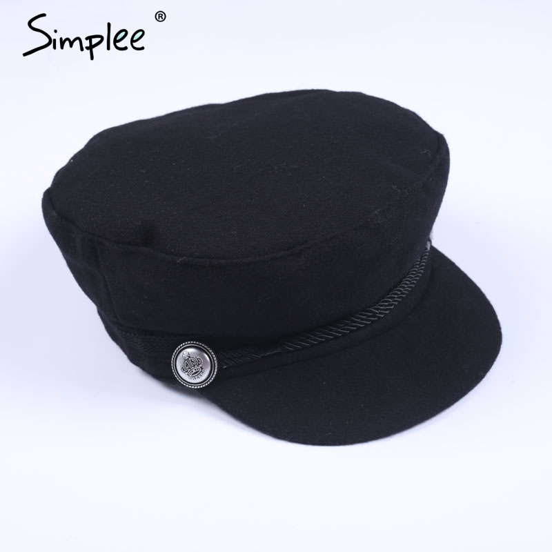 Simplee Fashion Black Hat Xap Qomen Casual Streetwear Rope Flat Cap Elegant