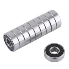 10Pcs/set 608 2RS Ball Bearing ABEC-5 8X22X7 mm Deep Groove Steel Sealed Ball Bearings Black Rubber Cover Mini Bearings 2pcs rubber sealed 440 stainless steel hybrid ceramic ball bearings s6803 6803 2rs 17 26 5mm si3n4 bike part