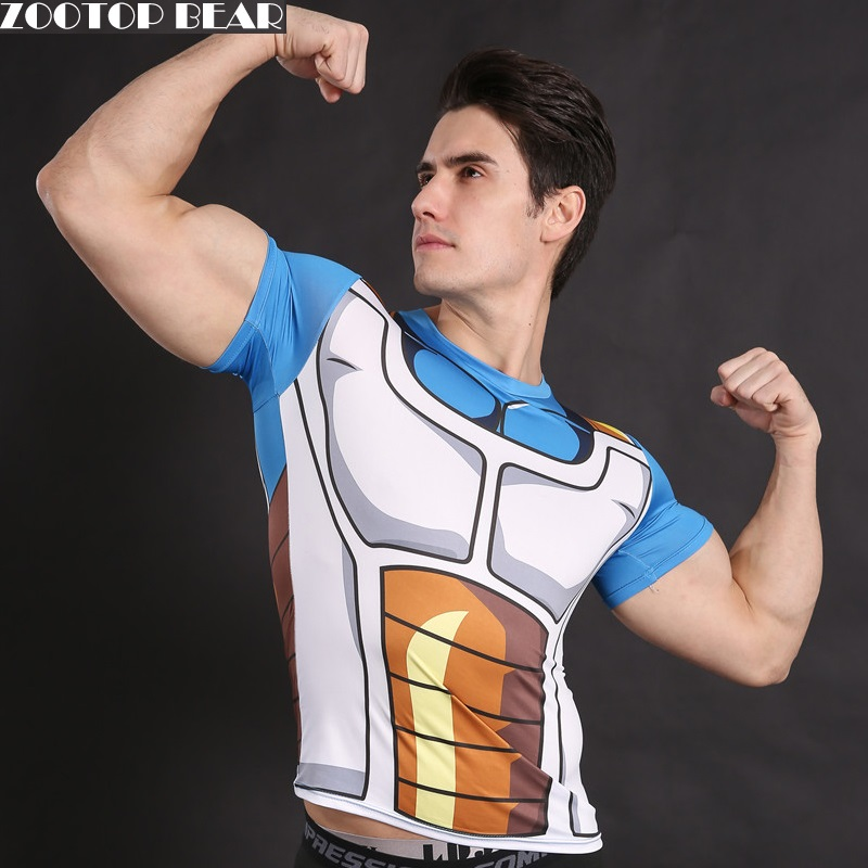 Vegeta Shirt Dragon Ball Z t shirt Cosplay Top Armor Anime Tee Compression T-shirt Crossfit Custome Fitness Male Top ZOOTOP BEAR